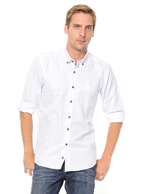 Dewberry Uzun Kollu Slim Fit Gömlek Beyaz